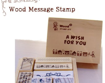 13pcs Rubber Stamps Wooden Box Collection (P110.4 - A Wish for You)