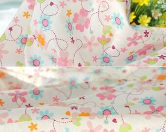 2791 - Flower Heart Cotton Jersey Knit Fabric - 68 Inch (Width) x 1/2 Yard (Length)