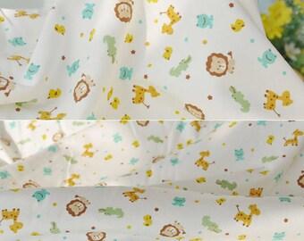 2795 - Lion Giraffe Crocodile Frog Bird Cotton Jersey Knit Fabric - 70 Inch (Width) x 1/2 Yard (Length)