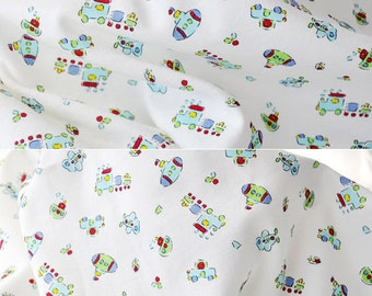 2798 - Toy Aeroplane Boat Submarine Train Car Cotton Jersey Knit Fabric - 70 Inch (Width) x 1/2 Yard (Length)