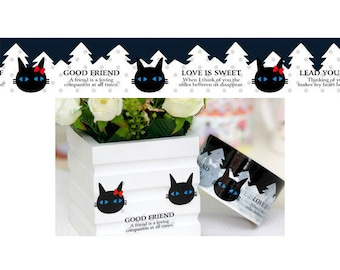 Scrapbook Sticker Adhesive Deco Tape (Cat in the Forest - No.126)