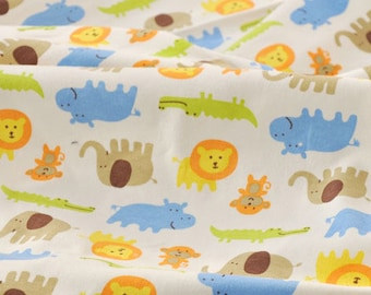 2874 - Elephant Rhino Lion Crocodile Monkey Cotton Jersey Knit Fabric - 69 Inch (Width) x 1/2 Yard (Length)