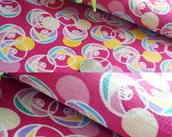 2918 - Japanese Kimono Chirimen Crepe Fabric with Iron-On Adhesive - 51 Inch (Width) x 1/2 Yard (Length)