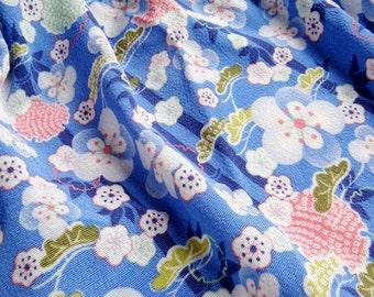 2987 - Japanese Bamboo Cherry Blossom Chrysanthemum Chirimen Crepe Fabric with Iron-On Adhesive - 48 Inch (Width) x 1/2 Yard (Length)
