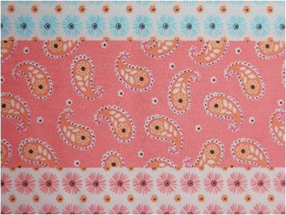 705 - Paisley Daisy Floral Stripe Cotton Fabric - 57 Inch (Width) x 1/2 Yard (Length)