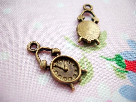 5pcs 8x19mm antique bronze alarm clock charms pendants (J227)