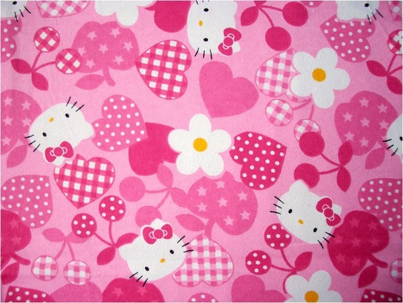 2393 - Japanese Kawaii Hello Kitty Apple Cherry Floral Heart Flannel Cotton Fabric - 42 Inch (Width) x 1/2 Yard (Length)