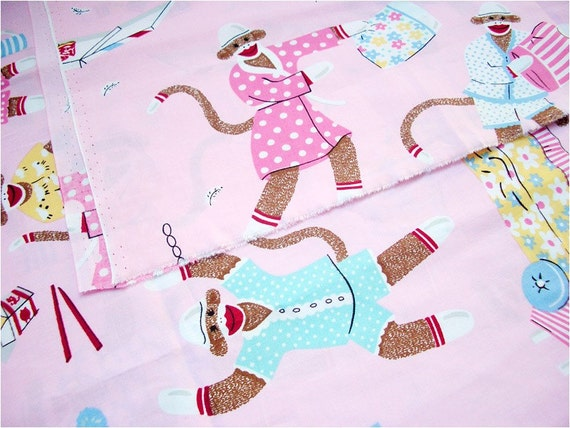 2471 - Funky Bedtime Monkey Cotton Fabric - 57 Inch (Width) x 1/2 Yard (Length)
