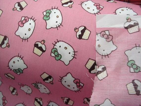 2637 - Japanese Kawaii Hello Kitty Cupcake Cotton Fabric - 43 Inch (Width) x 1/2 Yard (Length)