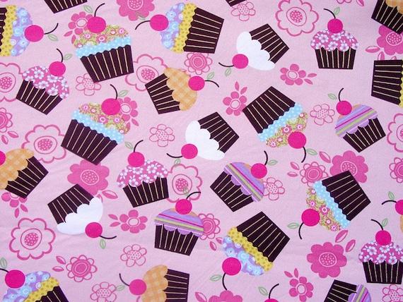 2750 - Cupcake Floral Twill Cotton Fabric - 43 Inch (Width) x 1/2 Yard (Length)