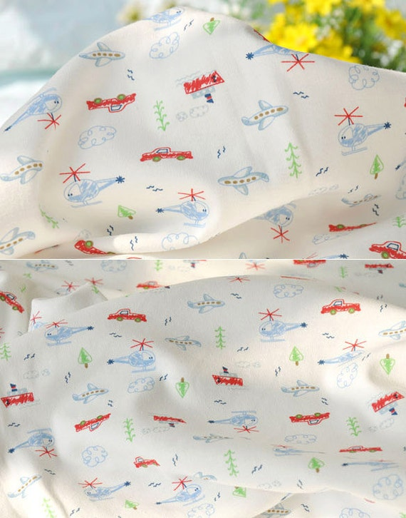 2799 - Aeroplane Helicopter Boat Car Tree Cloud Cotton Jersey Knit Fabric - 70 Inch (Width) x 1/2 Yard (Length)
