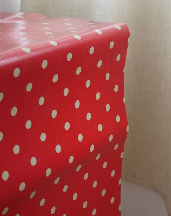 2822 - Cath Kidston Spot (Red) Oilcloth Waterproof Fabric - 28 Inch (Width) x 17 Inch (Length)