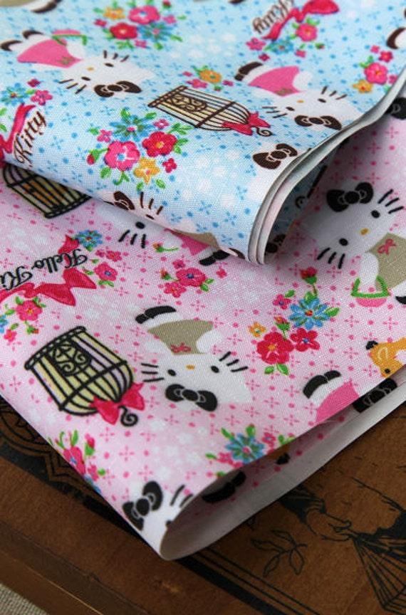 2831 - Hello Kitty Birdcage Flower on Pink Waterproof Fabric - 59 Inch (Width) x 30 Inch (Length)
