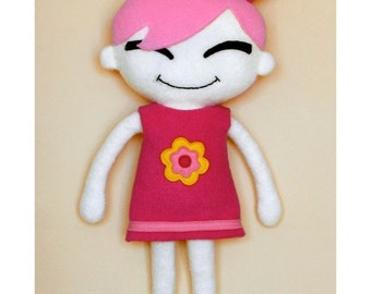Pinky Doll cloth doll sewing pattern - downloadable pdf