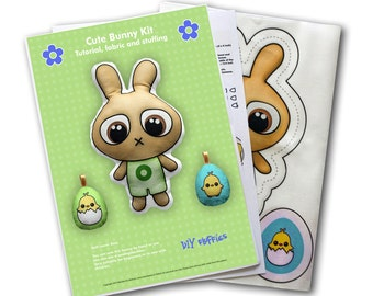 Cute Bunny Kit green - sew a cute stuffed bunny doll