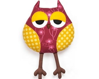 Sleepy owl softie sewing pattern - owl soft toy - PDF instant download