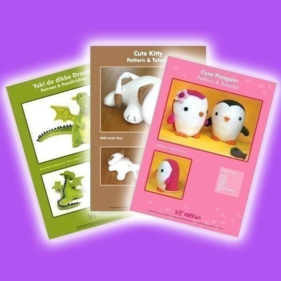 PDF 3 Patterns Bundle - choose any 3 stuffed toy patterns from my shop