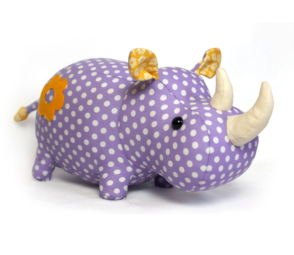 Rhino stuffed animal toy sewing pattern tutorial rhinoceros for Sewing templates for stuffed animals