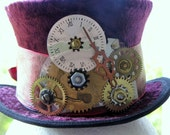 TIME BANDIT Mini Burgandy Velvet Top hat with Vintage Gears attached