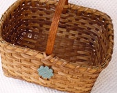 Market Basket Handwoven with teal pottery button