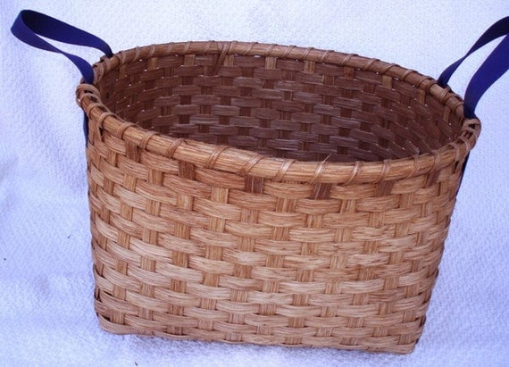 Laundry Basket Handwoven with Blue Shaker Tape Handles