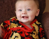 Double Tie Top Baby Outfit Sized 6 to 12 months-Golden Dragon