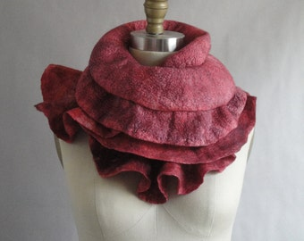 Red Felted Scarf Hand Dyed Wavy Ruffles Wool Silk Fiber Art OOAK from Lichens Collection - Made to Order