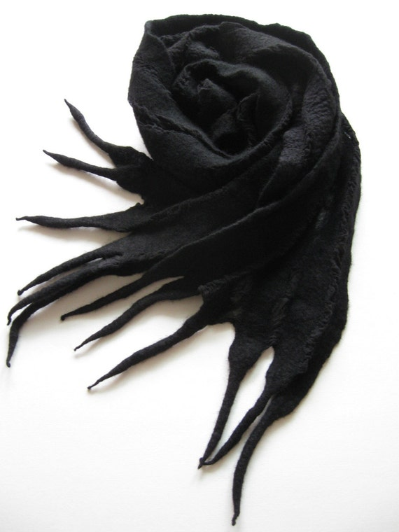 Nuno Felted Scarf Wrap Black Wool Silk Fiber Art OOAK from Light and Airy Collection - Magic Noir