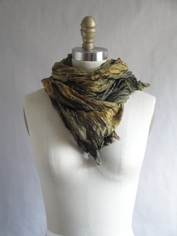 Silk Scarf Hand Dyed Extra Long Fiber Art Unisex OOAK from Pleats Please collection - Black Gold
