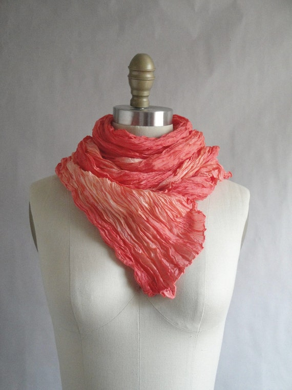 CUSTOM ORDER - Orange Silk Shawl Scarf Hand Dyed Extra Long OOAK from Pleats Please collection - Last Kiss of Summer