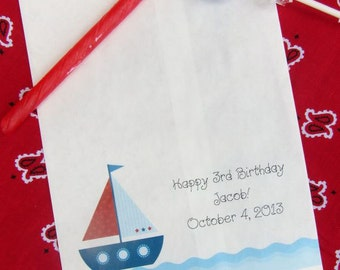 Personalized Candy Bags - Birthday Favor Bags - Sailboat Favors | Favor Bags Boys Birthday