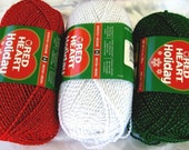 Red Heart Holiday Yarn, Classic three pack, Red  White  Green with  metallic sparkle thread, Christmas yarn