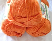 Eco Ways yarn, Plarn, yam tangerine orange, worsted weight yarn, made from recycled plastics
