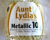 Aunt Lydias Metallic Crochet Cotton, natural with gold metallic thread, size 10, 226G, 154M