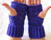 Purple Crocheted Fingerless Gloves,  wrist warmers,  driving gloves