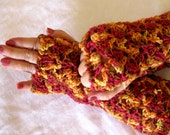 Crocheted lace Fingerless Gloves,  orange brown driving gloves, wrist warmers - crochetgal