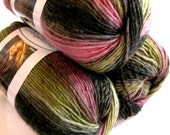 Red Heart Boutique Unforgettable yarn in ECHO,  amazing colour blend of green, pink, grey, worsted weight variegated yarn