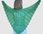 Emerald green ladies shawl wrap in bamboo & silk metallic, Crocheted butterfly lace Shawl, summer wrap, wedding shawl