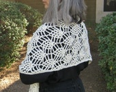 Crocheted Pineapple Lace Shawl or head scarf Wrap in ivory, ready to ship