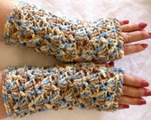 Tan Crocheted Fingerless Gloves,  wristers, fingerless mittens,  tan blue, office gloves, fall fashion