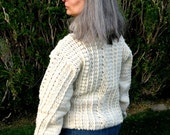 Ladies Fisherman Sweater, pullover sweater, heirloom cable knit pattern, ski sweater, heirloom fashions, womans pullover