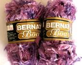 Bernat BOA yarn, Grape Nuts, purples, bulky weight yarn, eyelash novelty yarn, 2 balls