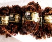 Bernat BOA yarn, Dark Mink brown, bulky weight yarn, eyelash novelty yarn, 4 balls