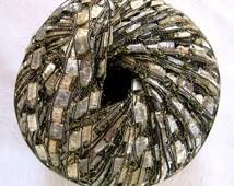 Berlini East Track II Metallic ladder ribbon yarn,  PLATINUM PEARL, silver grey sparkle, trellis yarn,  74