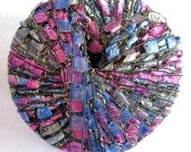 BLUEBERRY PARFAIT Metallic glitter ladder ribbon yarn, Berlini East Track II, blue fuchsia mauve grey,  72