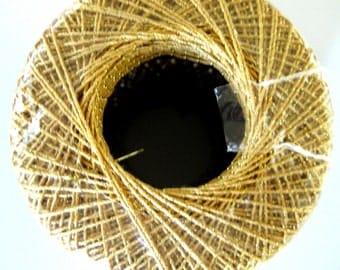 Aunt Lydias Metallic Crochet Cotton, gold with gold metallic cotton thread, size 10, 90G