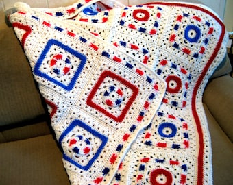 Crochet Granny Square style Reversible Afghan pattern,  crochet blanket pattern,  PDF digital download , Patriotic, stars and stripes