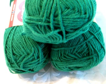 Red Heart Shimmer yarn, SHAMROCK green with green metallic thread, worsted weight sparkle yarn