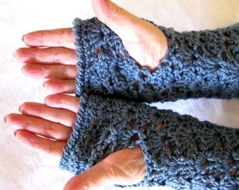 Crocheted Lace Fingerless Gloves,  steel blue, office gloves, fingerless mittens, texting gloves