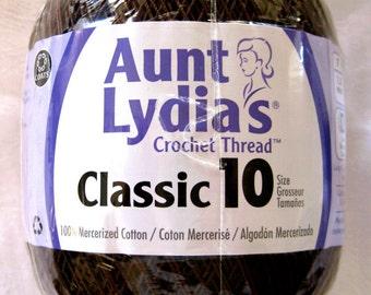FUDGE BROWN cotton thread, Aunt Lydias Classic Crochet Cotton Thread, size 10